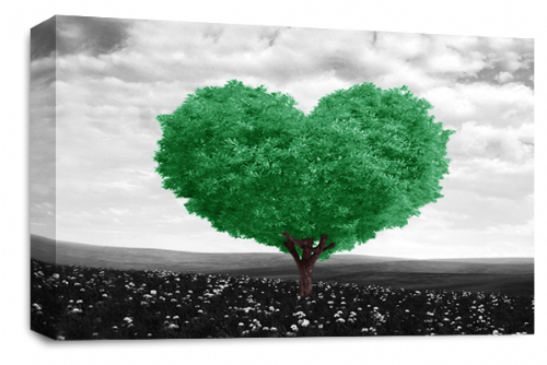 Love Heart Wall Art Picture Floral Tree Green White Grey Print